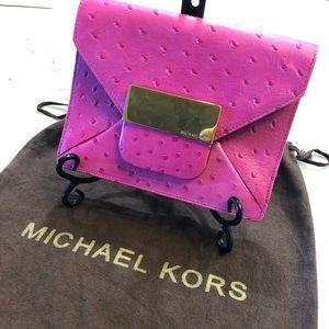 Michael Kors pink ostrich clutch